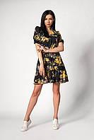 Летнее платье с цветочным принтом черное