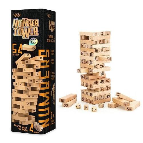 Настольная игра Дженга Башня Jenga Number Tower Джанга NT-01U, 54 бруска