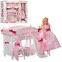 Игрушечная детская мебель для куклы спальня, с постелью и куклой, розовая