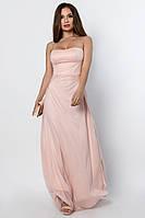 """Розовое вечернее платье в пол приталенного силуэта с разрезом """"XS"""" (15096.2.1)"""