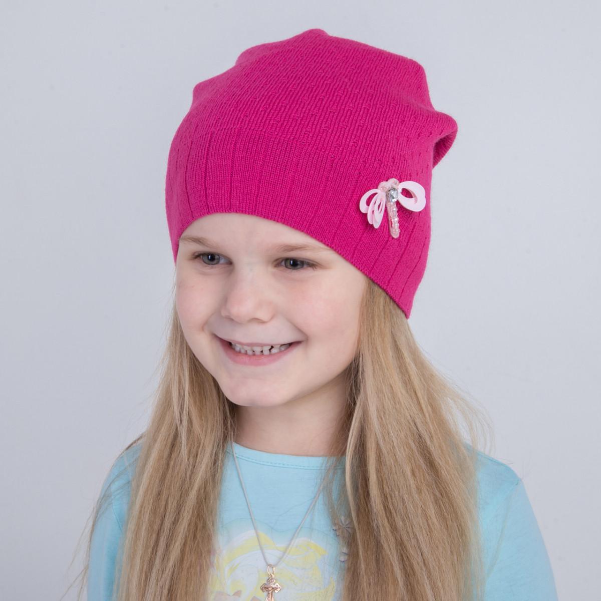 Вязаная весенняя шапка для девочки - Артикул 2227