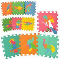 Развивающий коврик детский мозаика EVA птицы, 10 деталей  29х29х8 см.