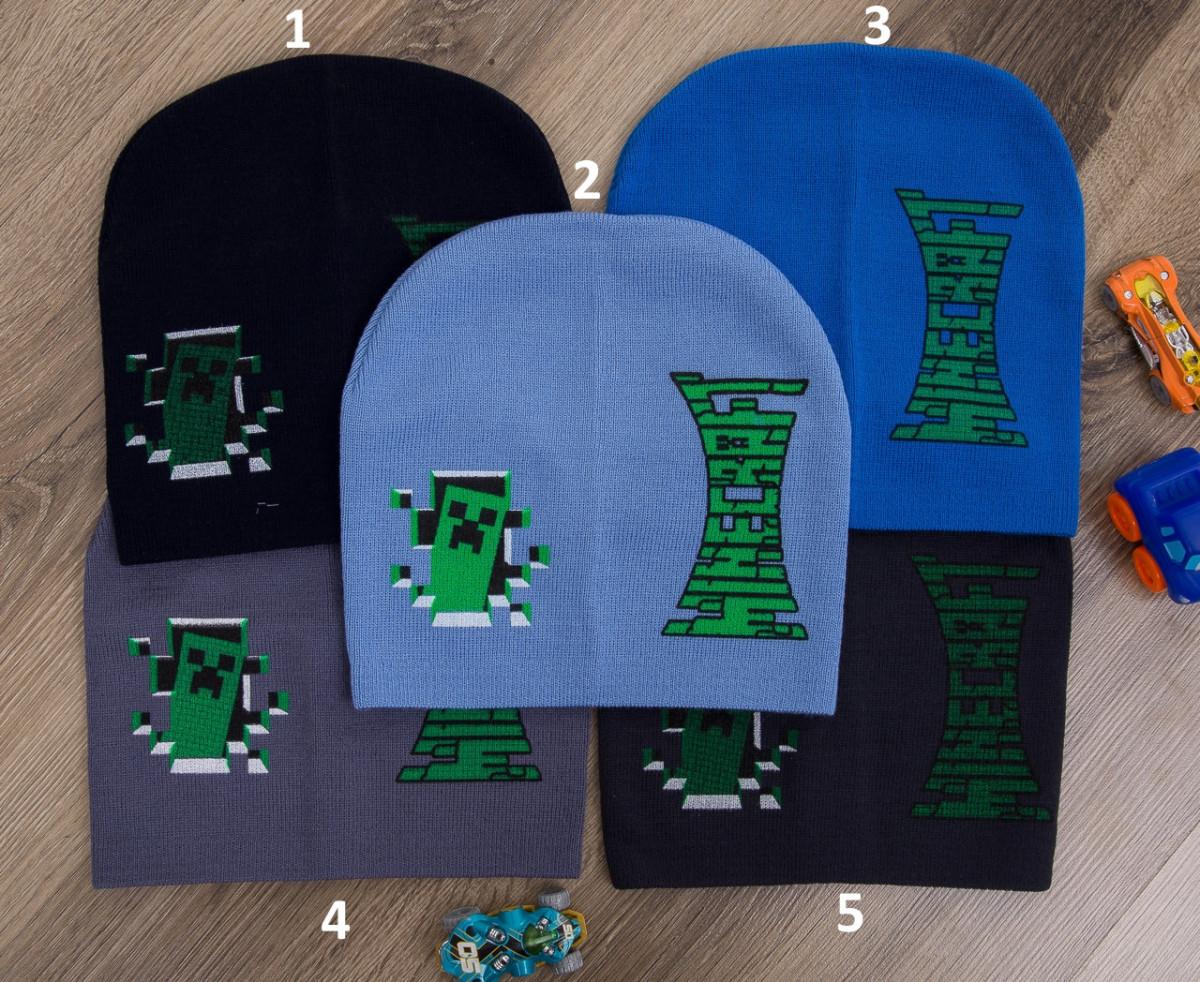 Вязаная шапка на мальчика оптом - Minecraft - осень 2018 - Артикул 2081
