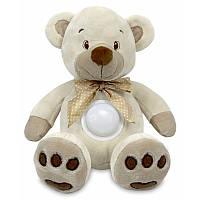 Ночник проектор детский музыкальный Медведь 25 см. Baby Mix STK-13138, бежевый