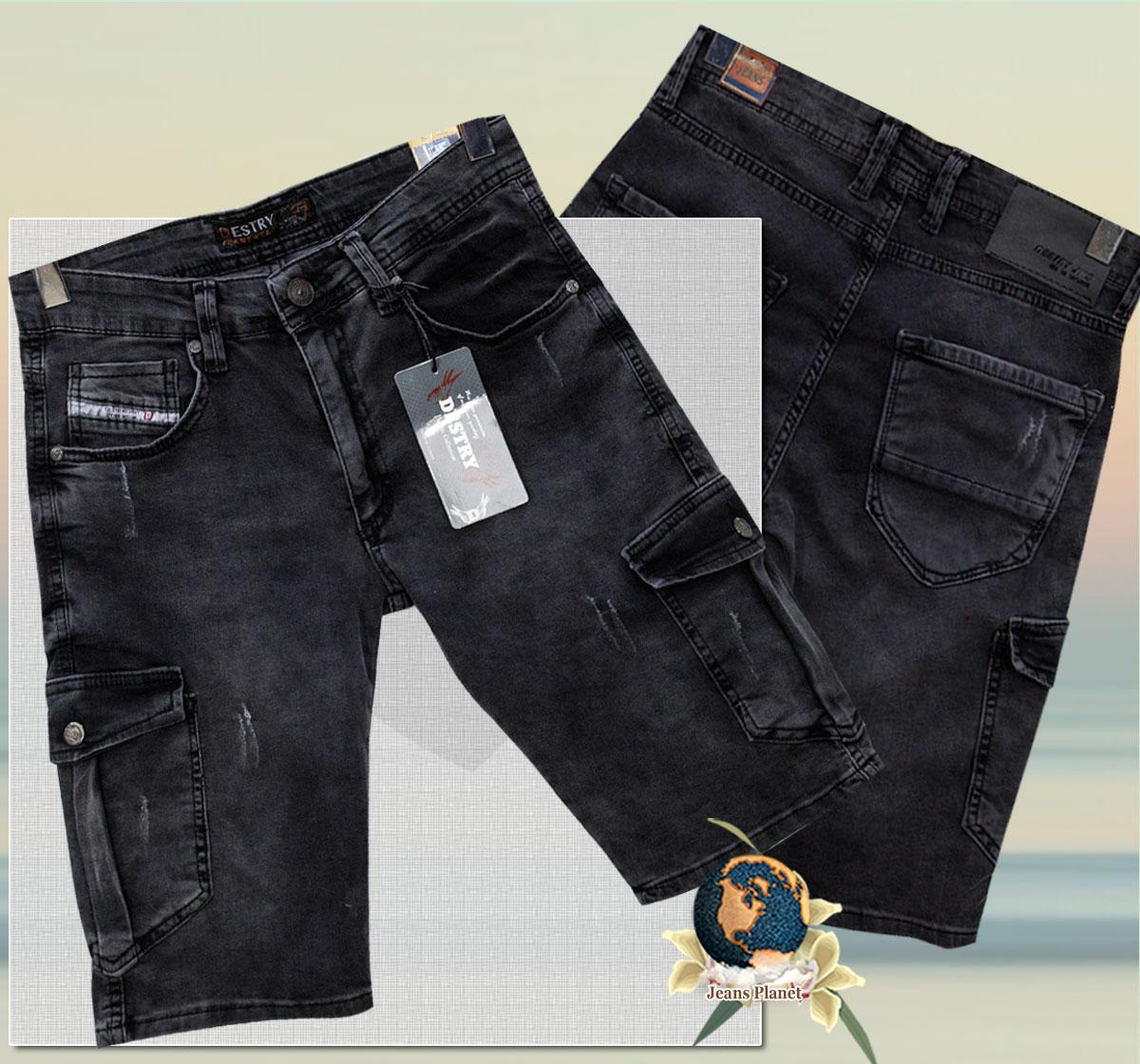 Шорты мужские джинсовые карго с карманами чёрного цвета