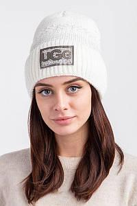 Вязанная зимняя женская шапка с отворотом и подкладкой из флиса - Артикул 2558 оптом