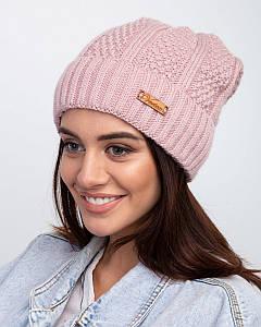 Вязанная зимняя женская шапка с подкладкой из флиса - Артикул 2476 оптом