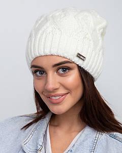 Вязана зимова жіноча шапка з флісовою підкладкою оптом- Артикул 2511