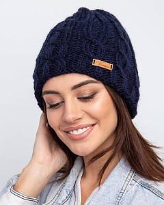 Вязанная зимняя женская шапка с подкладкой из флиса - Артикул 2525 оптом
