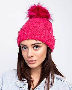 Вязанная шапка с меховым помпоном для девочек и женщин на зиму - Артикул 1508 оптом
