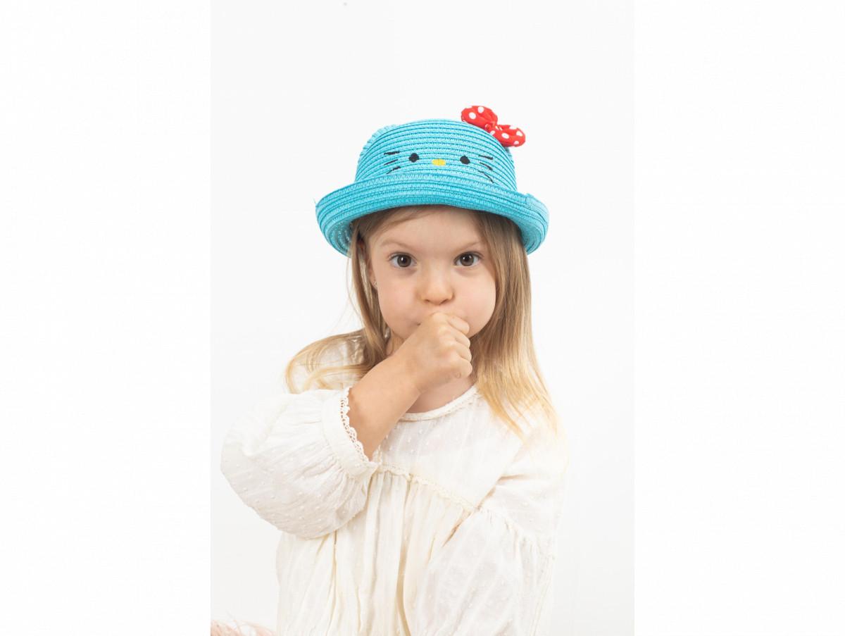 Детская шляпа Китти оптом голубая