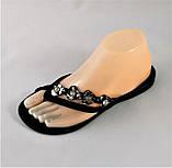 Женские Тапочки Шлёпанцы Сланцы Вьетнамки Чёрные (размеры: 37,38,39), фото 5