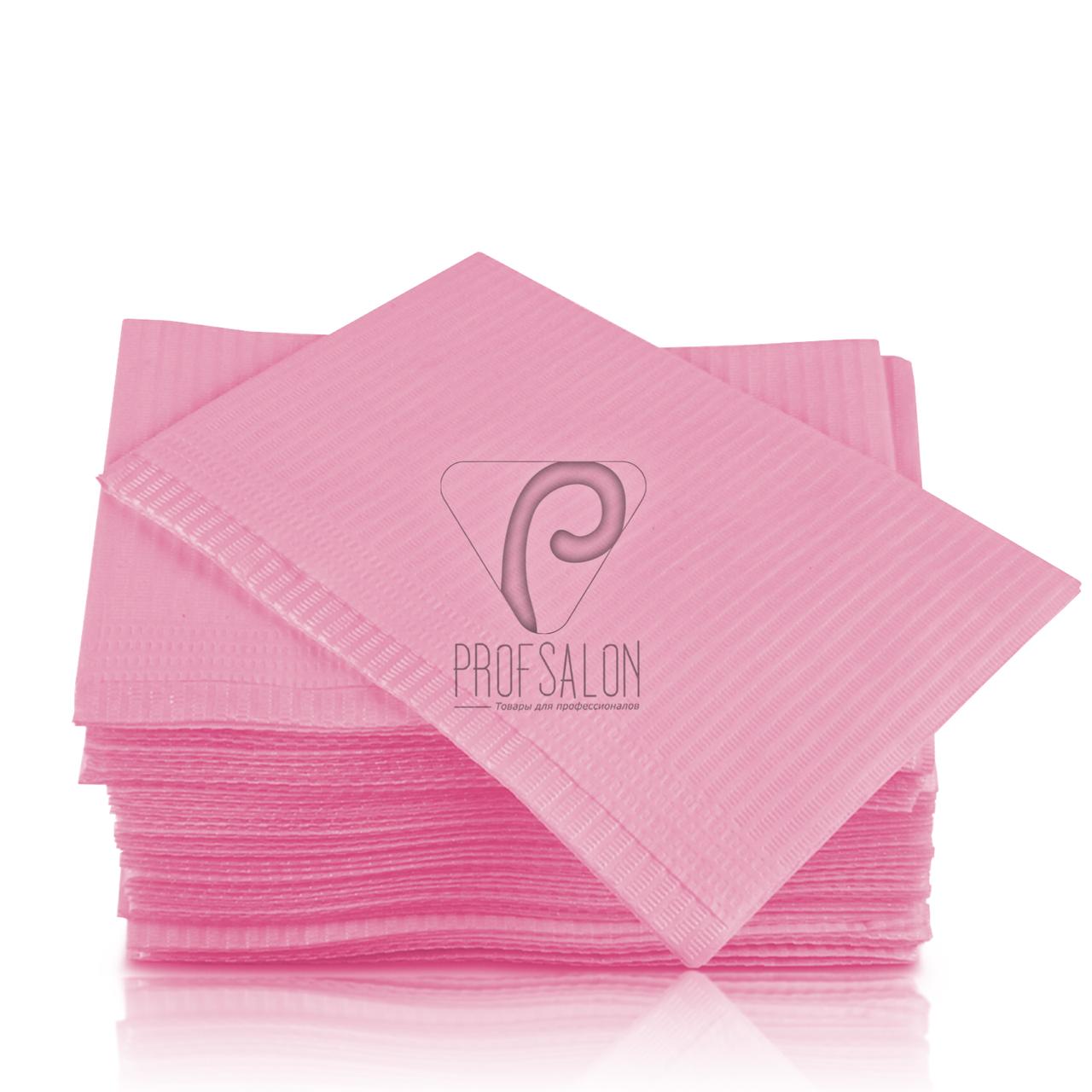 Стоматологические салфетки нагрудники непромокаемые, 125 шт, 45х32см, светло-розовые