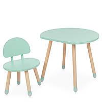 Детский деревянный столик и стульчик M 4254 Mushroom mint Мятный | Дитячий стіл і стілець скандинавский стиль