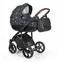 Детская универсальная коляска 2 в 1 Roan Bass Soft Ocean Lullaby, черная (8507)