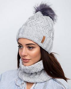 Жіночий вязаний комплект (шапка та хомут) на зиму оптом - Артикул 2371