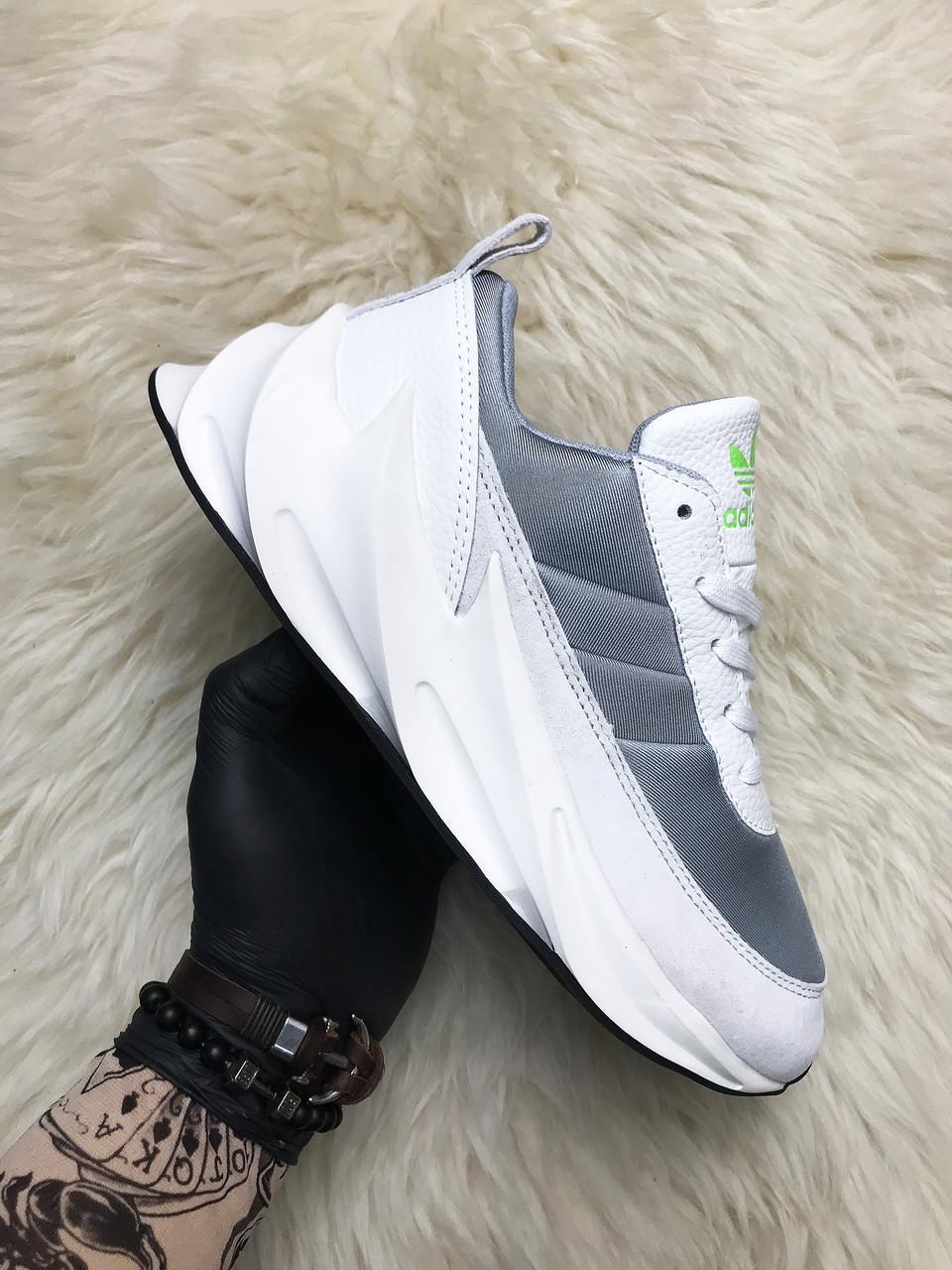 Мужские кроссовки Adidas Sharks White Gray, мужские кроссовки адидас шарк