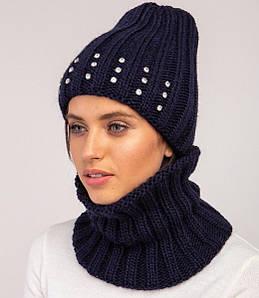 Жіночий зимовий вязаний комплект грубої вязки частково на флісі оптом - Артикул 2509