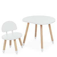 Детский деревянный столик и стульчик M 4254 Mushroom white Белый | Дитячий стіл і стілець скандинавский стиль