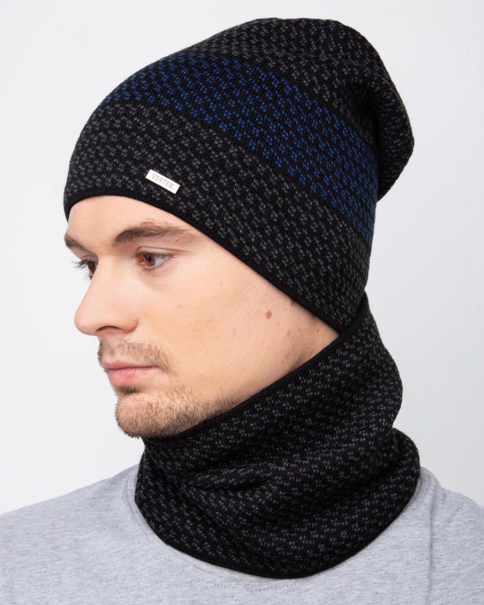 Зимовий вязаний чоловічий комплект на флісі - Артикул 2518 оптом
