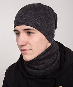 Зимний вязанный мужской комплект из шапки и хомута - Артикул 2139 черный
