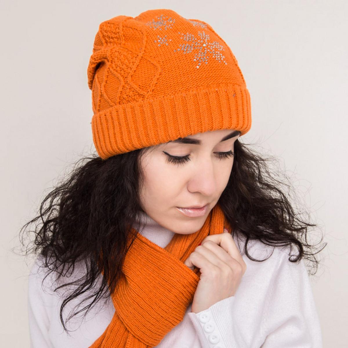 Зимний женский вязаный комплект (шапка хомут) на флисе - Снежинка - Артикул 0863 7
