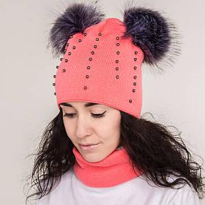 Зимний женский комплект (шапка с помпонами хомут) на флисе - Артикул 2199