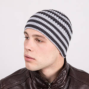 Зимняя вязаная мужская шапка в полоску - Артикул m1e