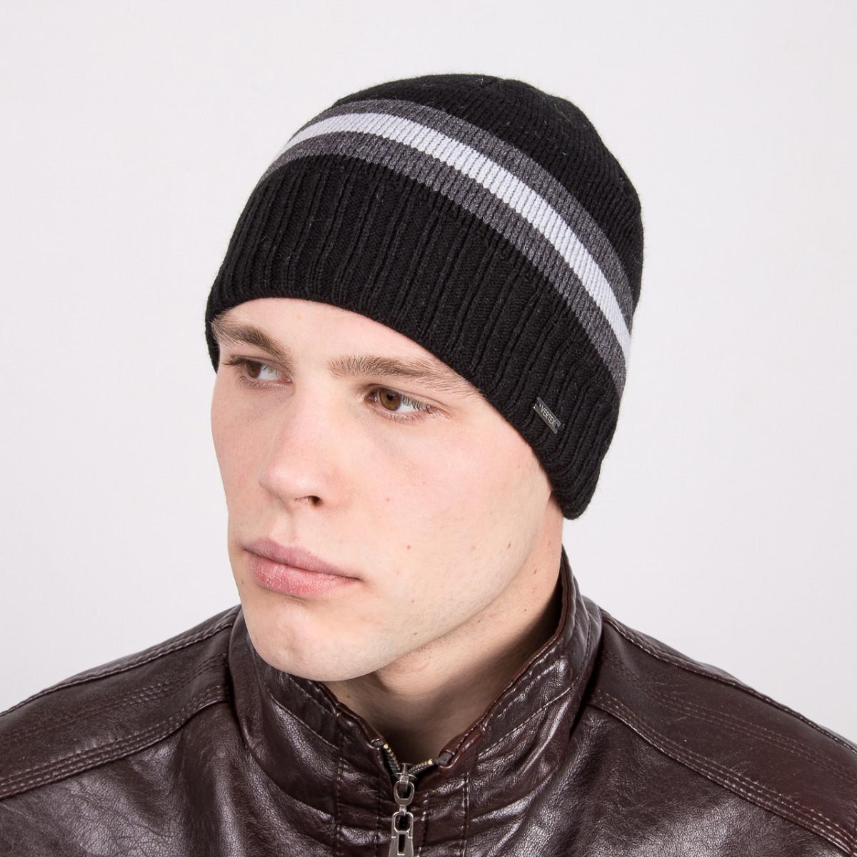 Зимняя вязаная мужская шапка в полоску - Артикул m2a