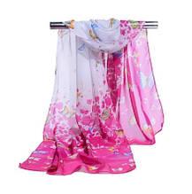 Женский шифоновый шарфик с бабочками, розовый + белый - размер шарфа приблизительно 145*48см, 100% вискоза