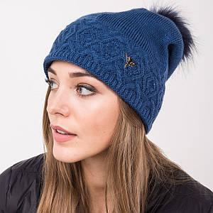 Зимняя вязанная женская шапка с меховым помпоном - Артикул 2140 светло-синий