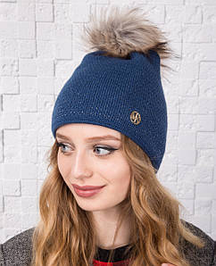 Зимняя вязанная шапка для женщин с меховым помпоном - Артикул 2144 светло-синий