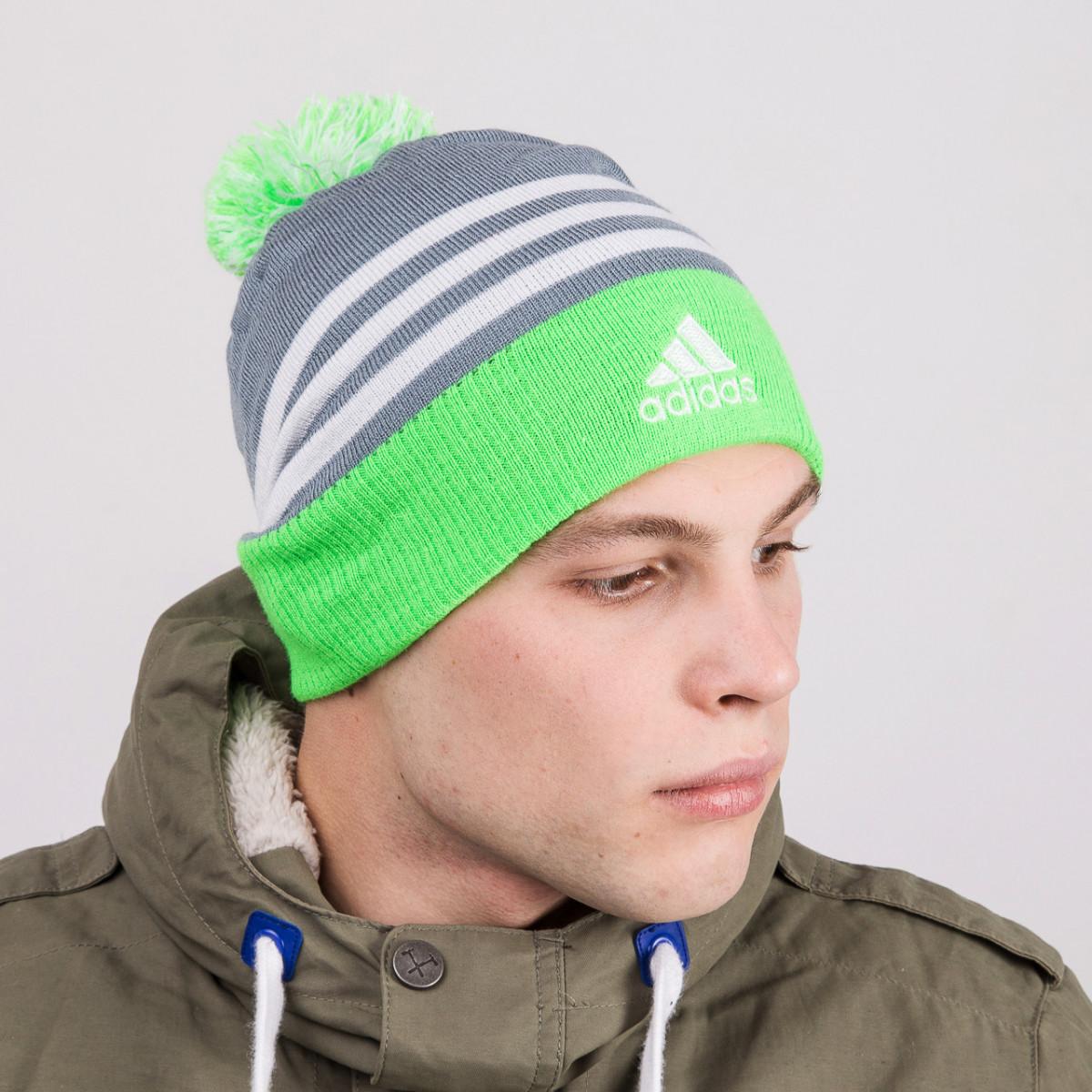 Зимняя спортивная мужская шапка с помпоном - Adidas (реплика) - Артикул 8813