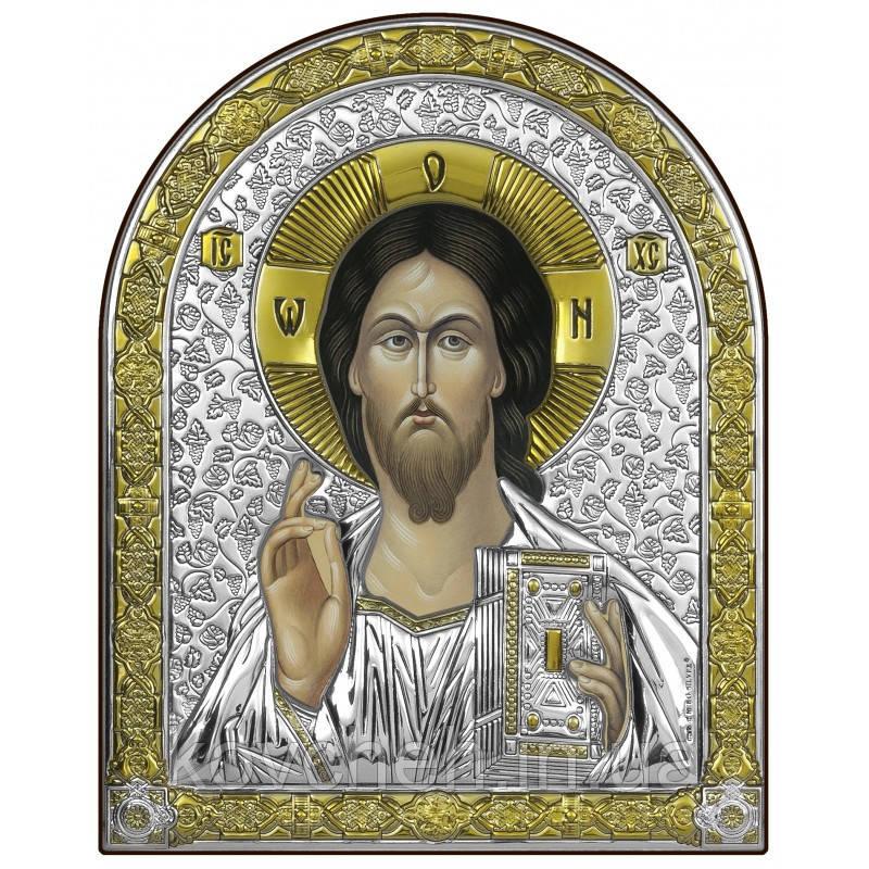 Ікона Спаситель Грецька Розмір-14x17 Срібна-925 Иконы Серебро Греция Лик