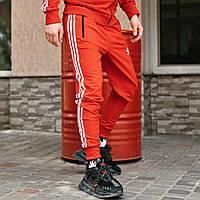 Штаны спортивные мужские Adidas красные, зауженные спортивные брюки Адидас