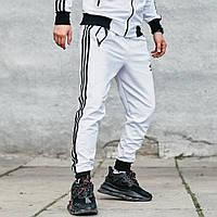 Штаны спортивные мужские Adidas белые, зауженные спортивные брюки Адидас