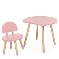 Детский деревянный столик и стульчик M 4254 Mushroom pink Розовый | Дитячий стіл і стілець скандинавский стиль