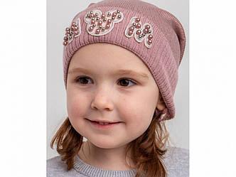 Милая шапка с отворотом для девочки на весну-осень Mom оптом - Артикул KR 2148
