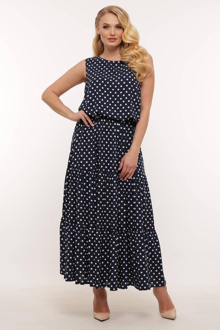 Женское летнее платье в горошек с ярусными оборками, размеры 54-60