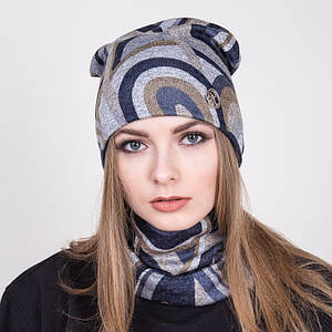 Модный комплект из шапки и хомута на весну 2018- Люкс - Артикул 2040