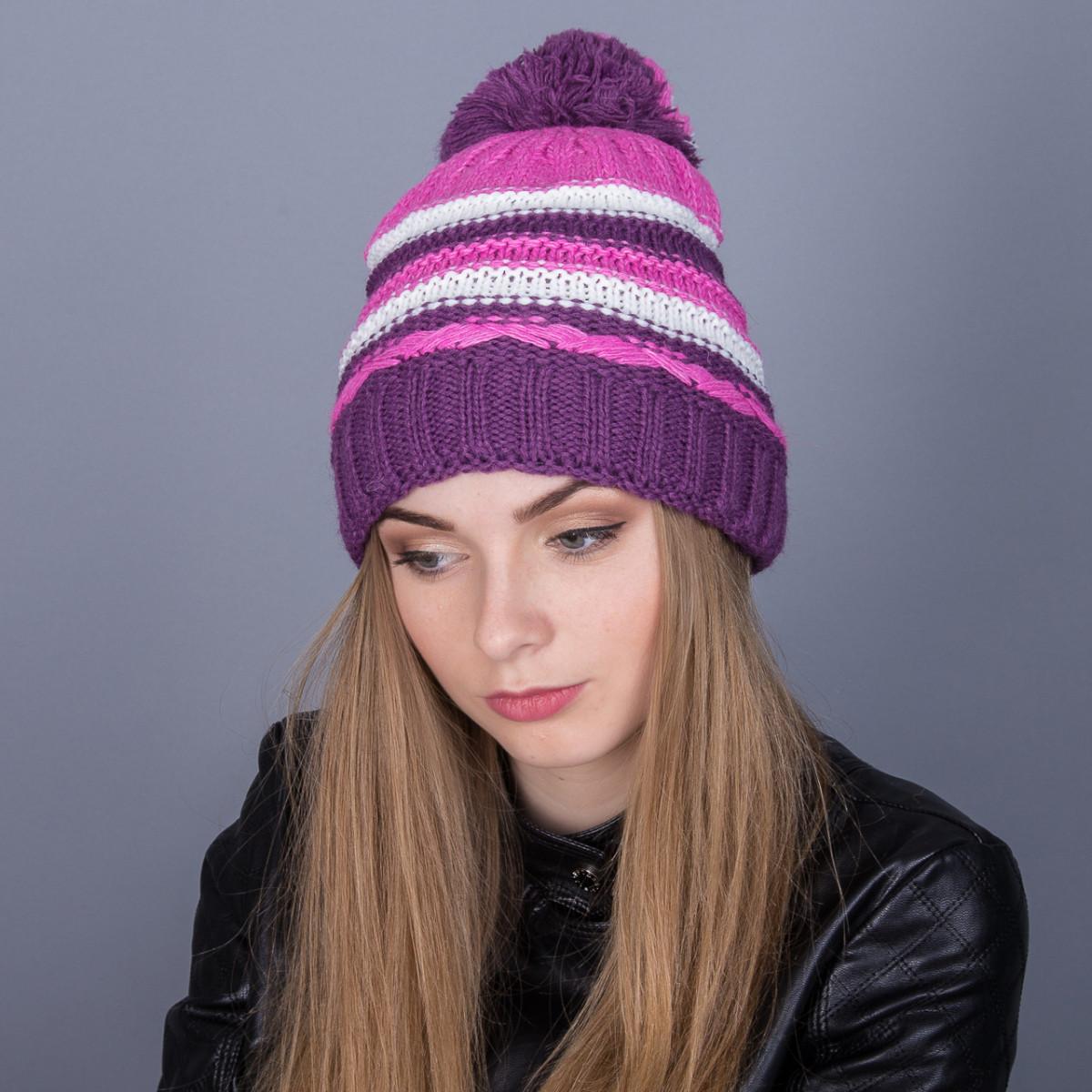 Молодежная зимняя женская шапка с помпоном из ангорки - Артикул 7044