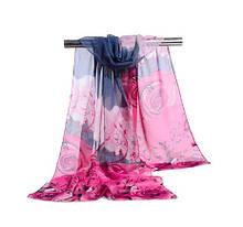 Женский шифоновый шарф с розами, серо-розовый - размер шарфа приблизительно 145*48см, 100% вискоза