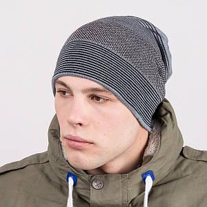 Мужская вязаная шапка колпак на зиму - Артикул m63c