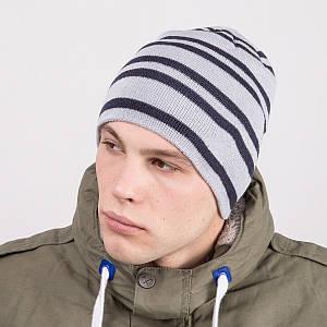 Мужская шапка колпак в полоску вязаная на зиму - Артикул m64b