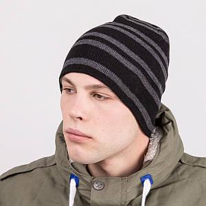 Мужская шапка колпак в полоску вязаная на зиму - Артикул m64c