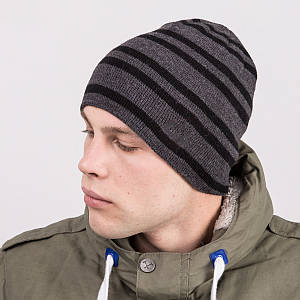 Мужская шапка колпак в полоску вязаная на зиму - Артикул m64d