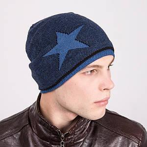 Мужская шапка колпак вязаная на флисе - Рок стар - Артикул m7a