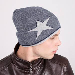 Мужская шапка колпак вязаная на флисе - Рок стар - Артикул m7d