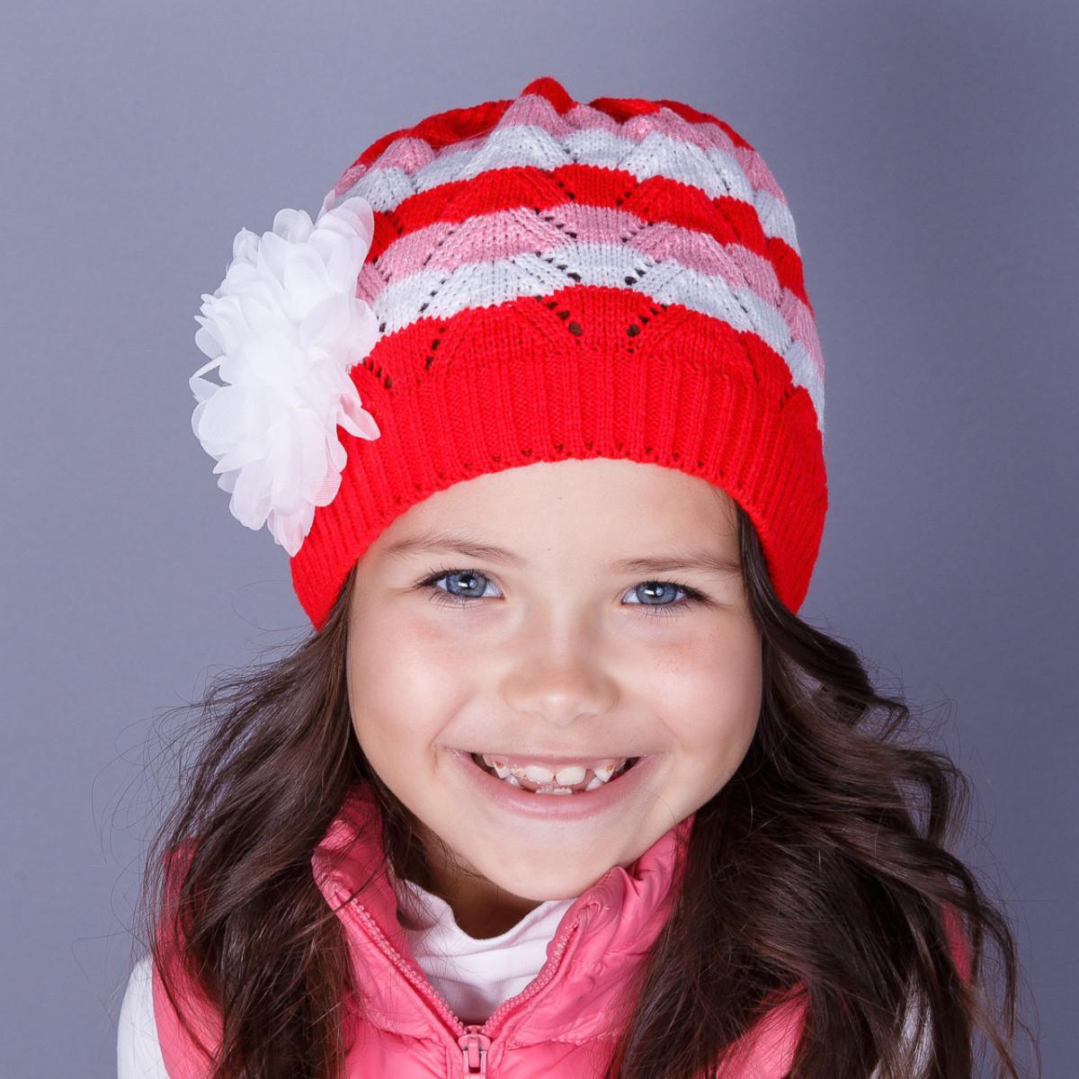 Нарядная вязанная шапка для девочек оптом - Бант - осень - Артикул 1510
