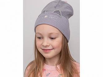 Нежная шапка с отворотом для девочки на весну-осень Зайка оптом - Артикул KR 2152